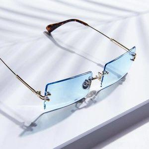Men's Baby Blue Rimless Sunglasses